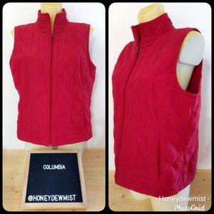 COLUMBIA Red Quilt Textured Zip Up Vest